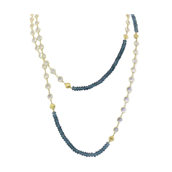 Closeup photo of London Blue and white Topaz Chain