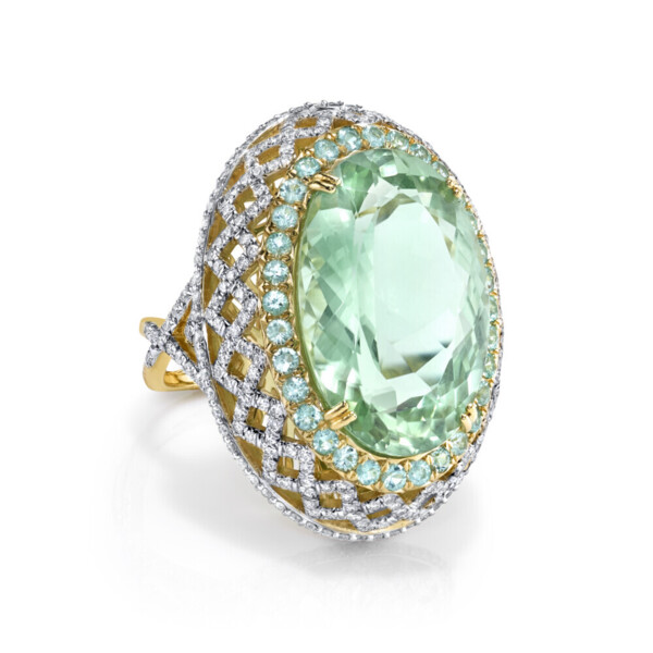 Closeup photo of Mint Green Tourmaline RIng with Paraiba and White Diamond Detail