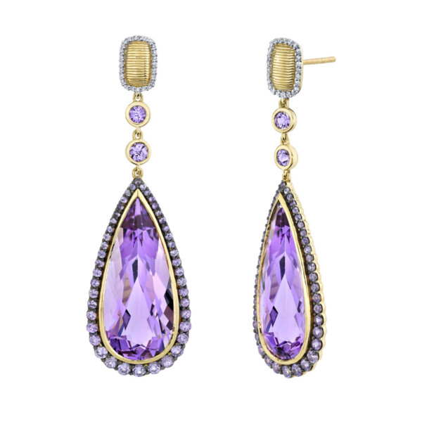 Closeup photo of Amethyst Pear Shaped Drops Earring with Purple Sapphire and White Diamond Detail