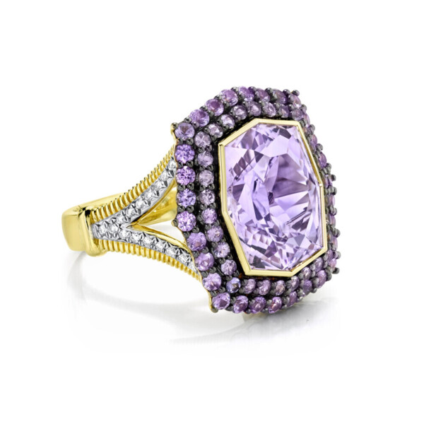 Closeup photo of Amethyst Ring with Purple Sapphire And White Diamond Detail