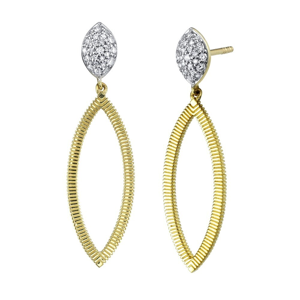 Earrings with Marquis Diamond with Pave Top and Strie Edge