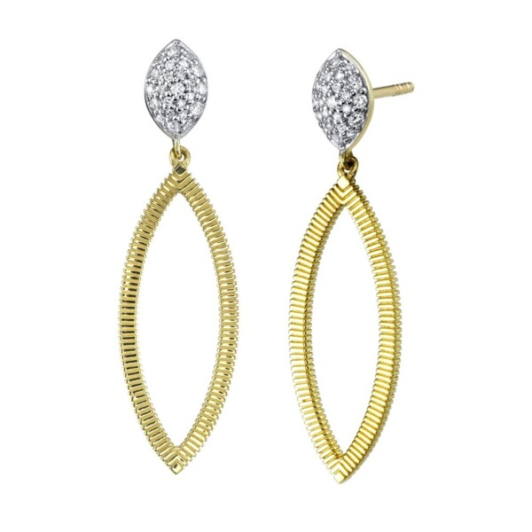 Closeup photo of Earrings with Marquis Diamond with Pave Top and Strie Edge