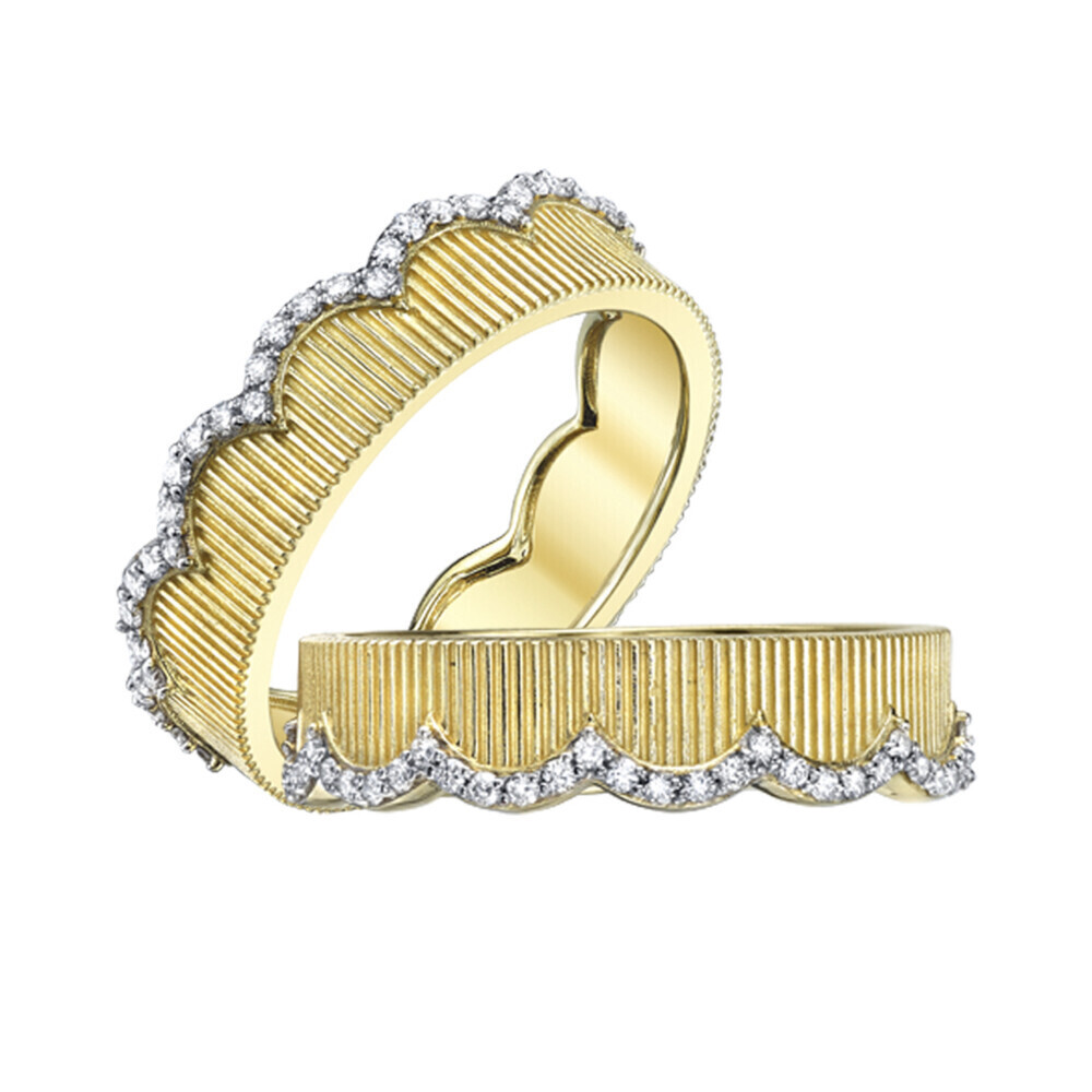 Scalloped Strie and White Diamond Eternity Bands