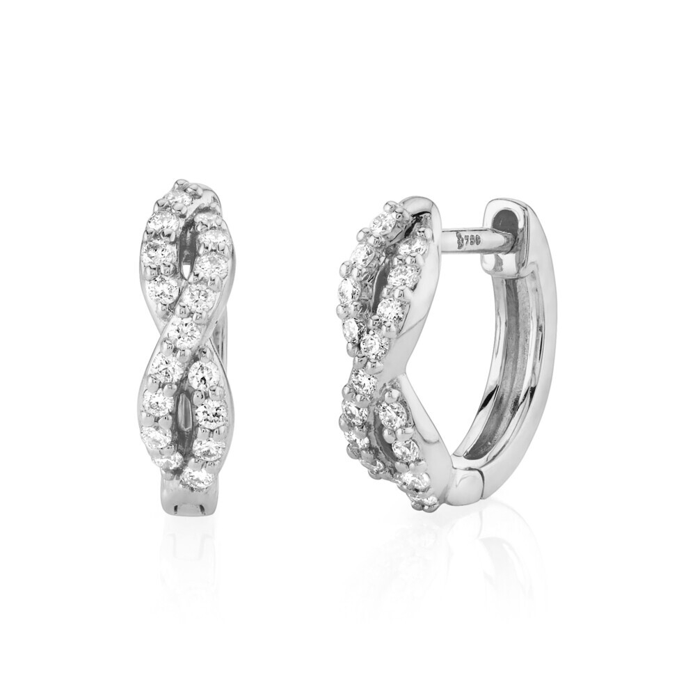 Braided Huggie Hoop Earring with White Diamond Detail