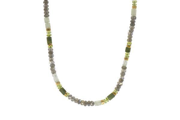 Closeup photo of 24k Gold Vermeil Labradorite, Peridot & Prehnite Beaded Necklace