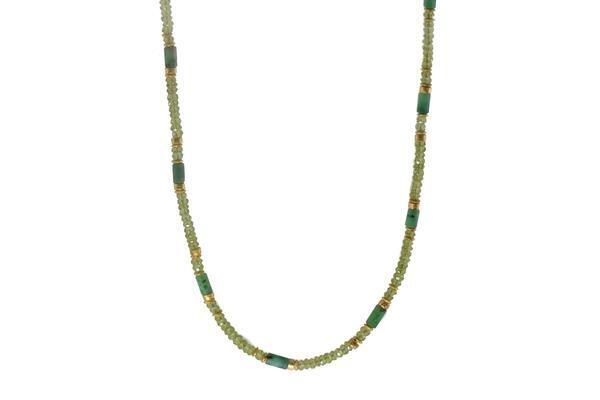 Closeup photo of 24k Gold Vermeil Peridot & Emerald Beaded Necklace