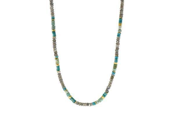 Closeup photo of 24k Gold Vermeil Turquoise, Chrysocolla & Labradorite Beaded Necklace