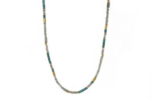 Closeup photo of 24k Gold Vermeil Labradorite & Turquoise Beaded Necklace