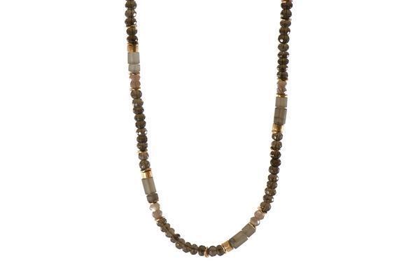 Closeup photo of 24k Gold Vermeil Smoky Quartz Beaded Necklace
