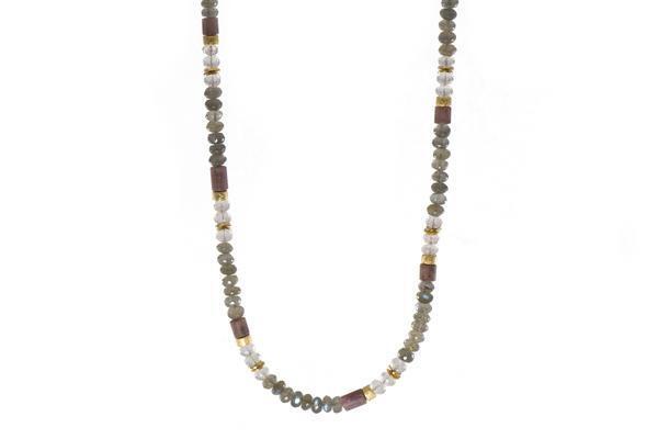 Closeup photo of 24k Gold Vermeil Labradorite, Rose Quartz & Rhodonite Beaded Necklace
