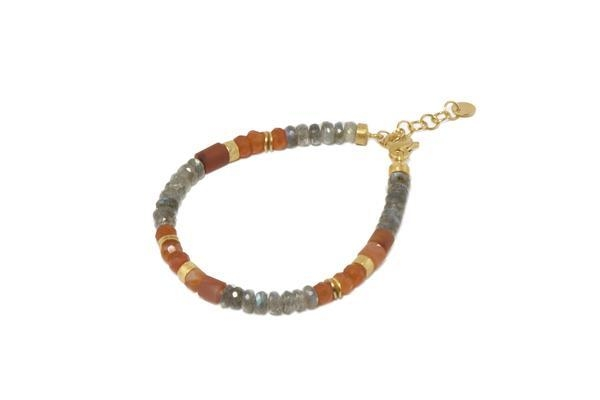 Closeup photo of 24k Gold Vermeil Beaded Labradorite & Carnelian Bracelet