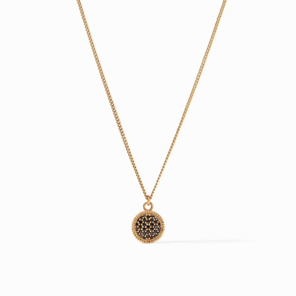 Closeup photo of Fleur-de-Lis Solitaire Necklace with Pave Obsidian Black