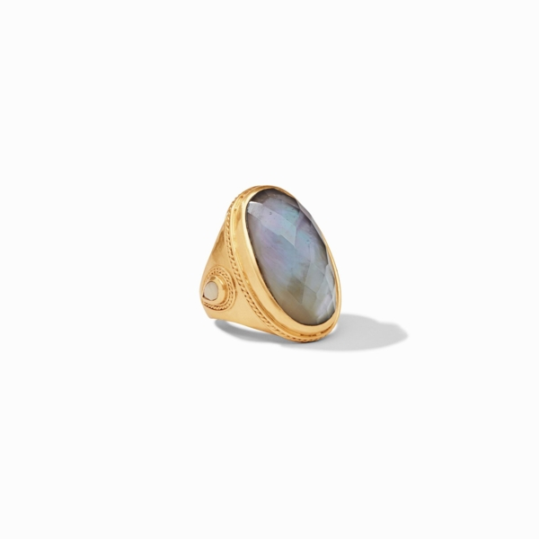Closeup photo of Cassis Statement Ring with Iridescent Slate Blue gemstone
