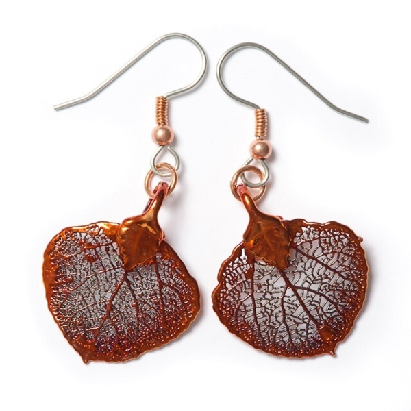 Closeup photo of Aspen Leaf Earring Irridescent Copper