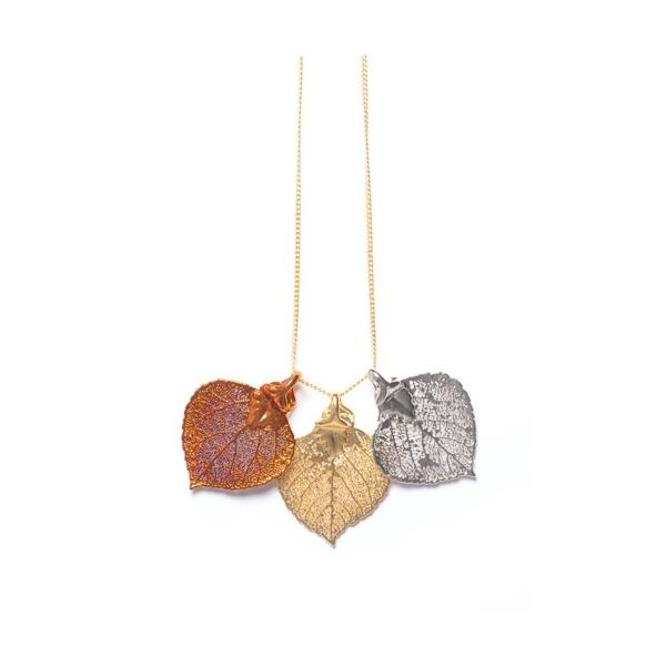 Closeup photo of Aspen Leaf Triple Necklace
