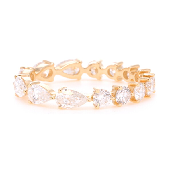 Closeup photo of Round to Pear Diamond Eternity Band 1.8tcw
