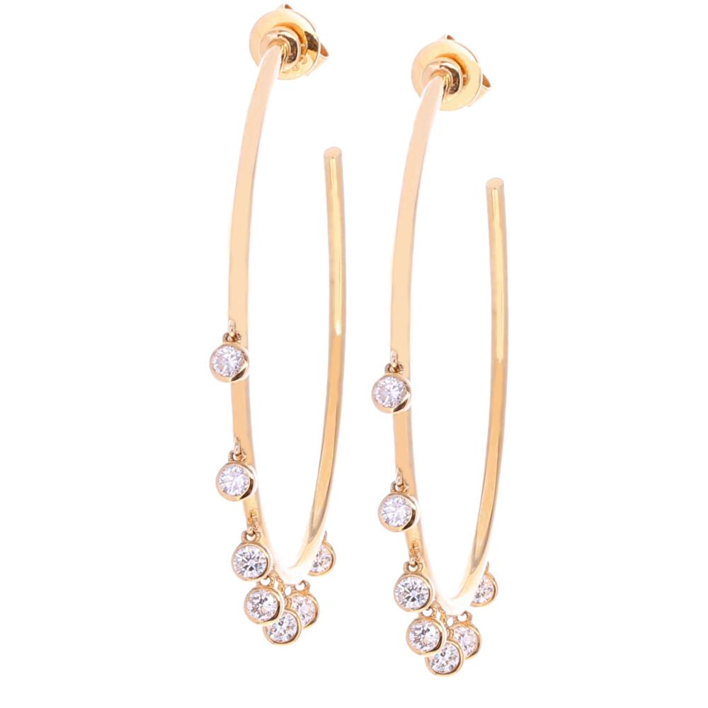 Dangling Diamond Thin Hoops 0.80tcw