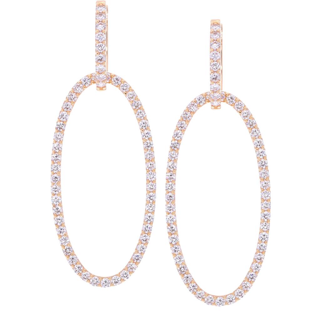 Large Diamond Oval Dangle Earrings