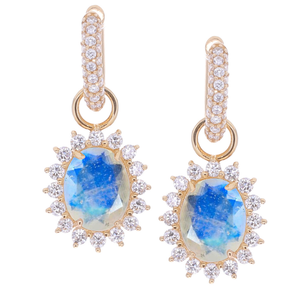 Oval Moonstone Earring Charms 0.31tcw