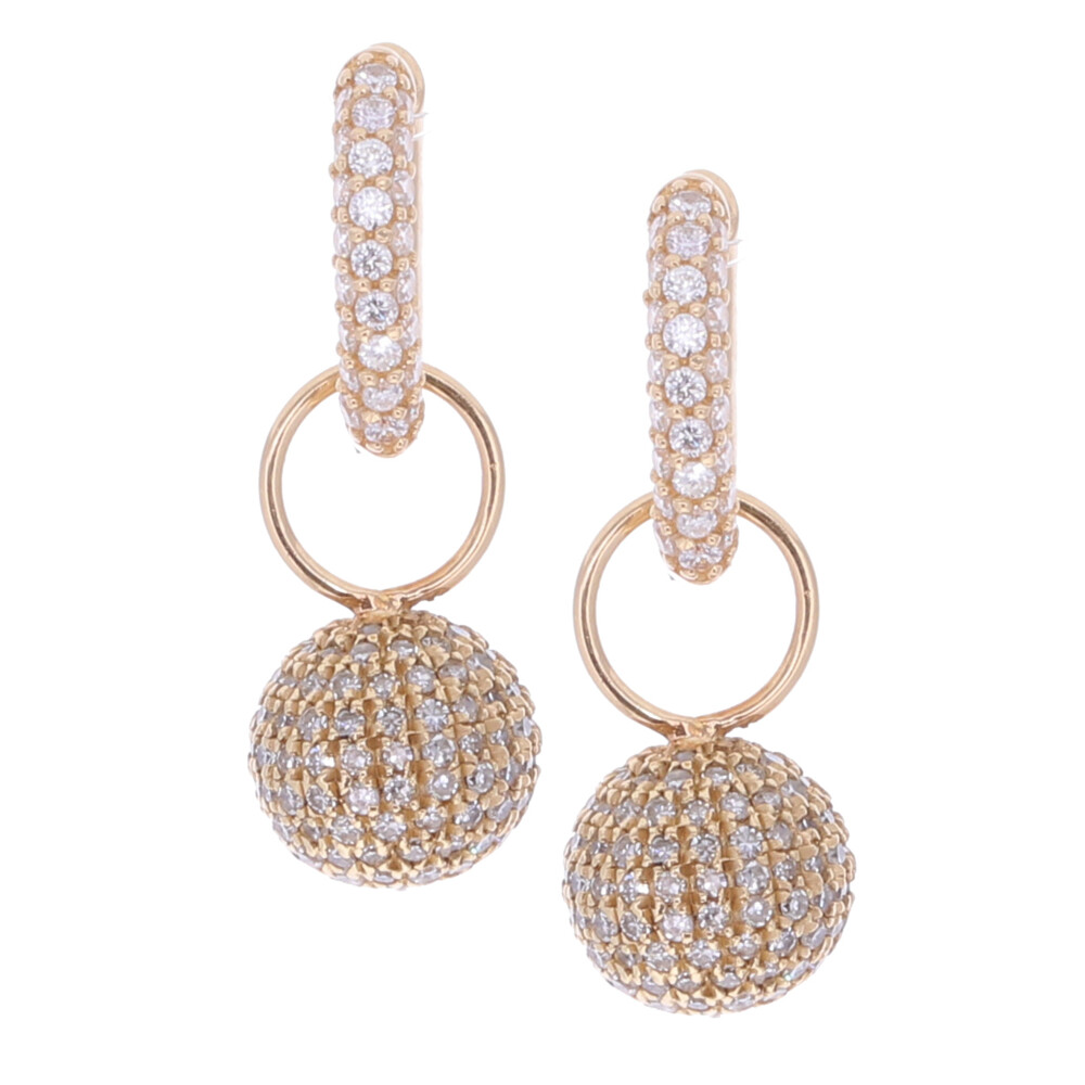 Pave Diamond Disco Ball Earring Charms