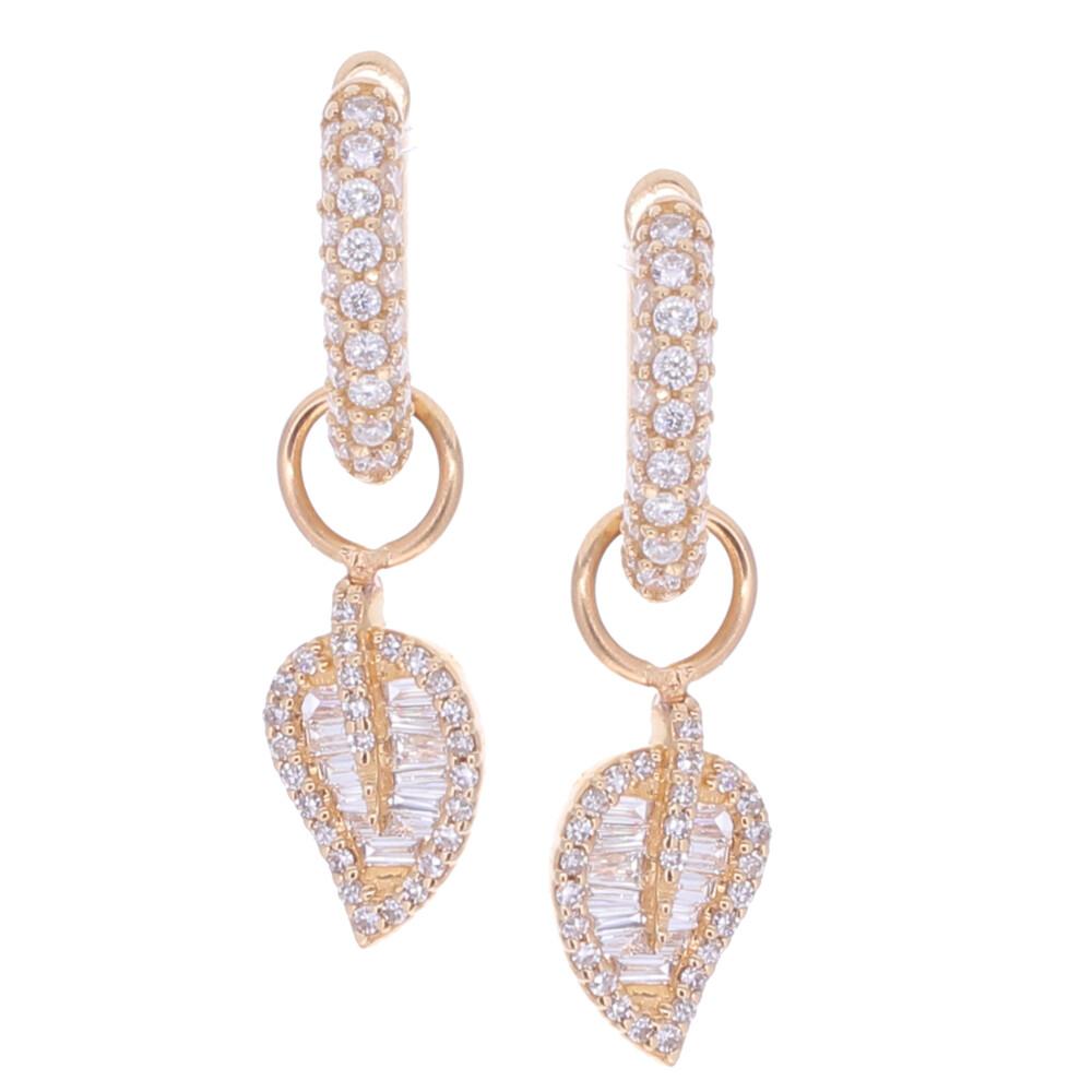 Baguette Diamond Leaf Earring Charms
