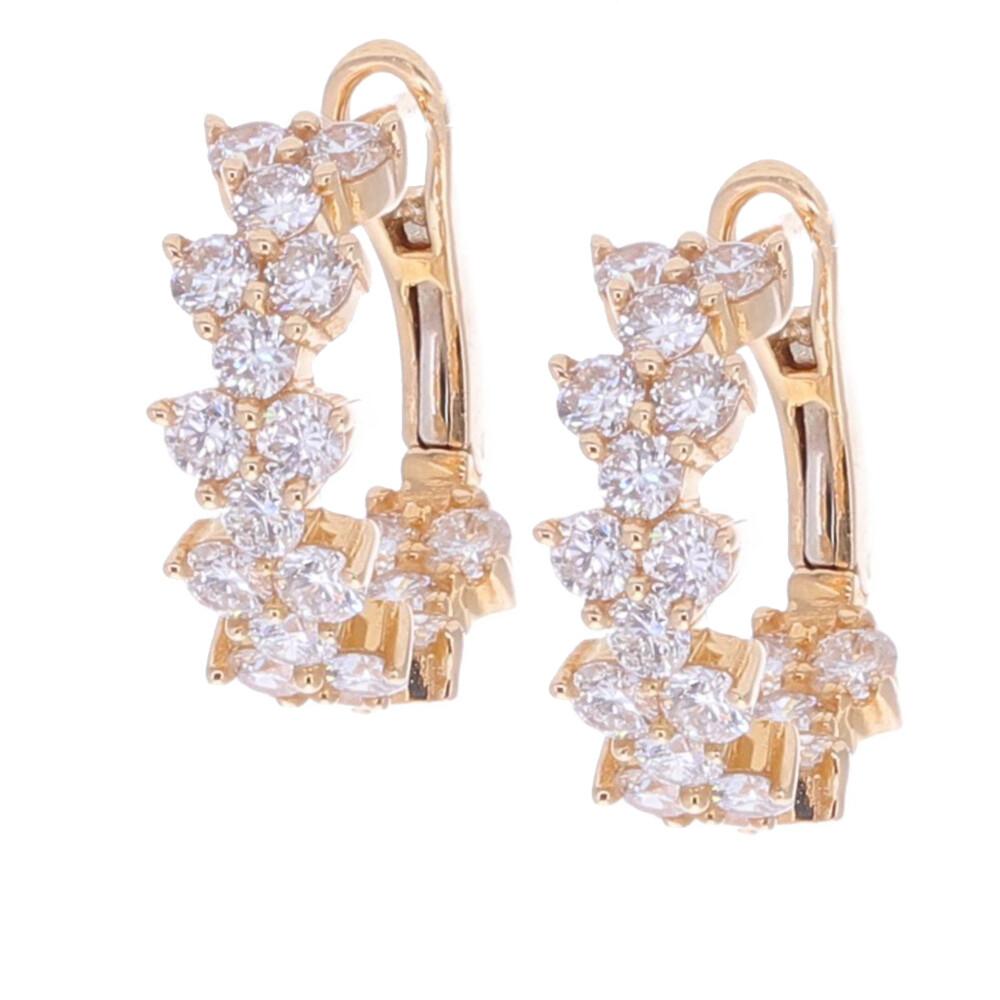 Triple Diamond Huggie Earring