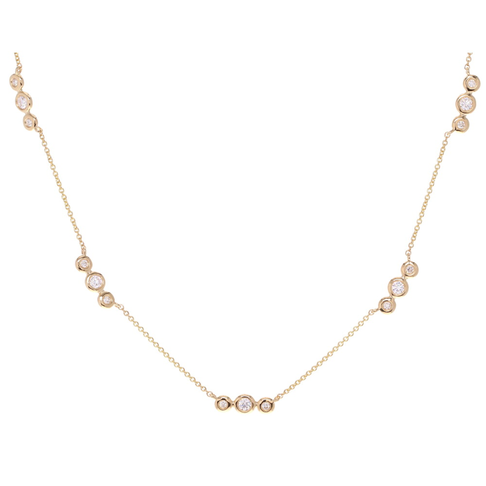 Bar & Bezel Diamond Station Necklace 0.29tcw