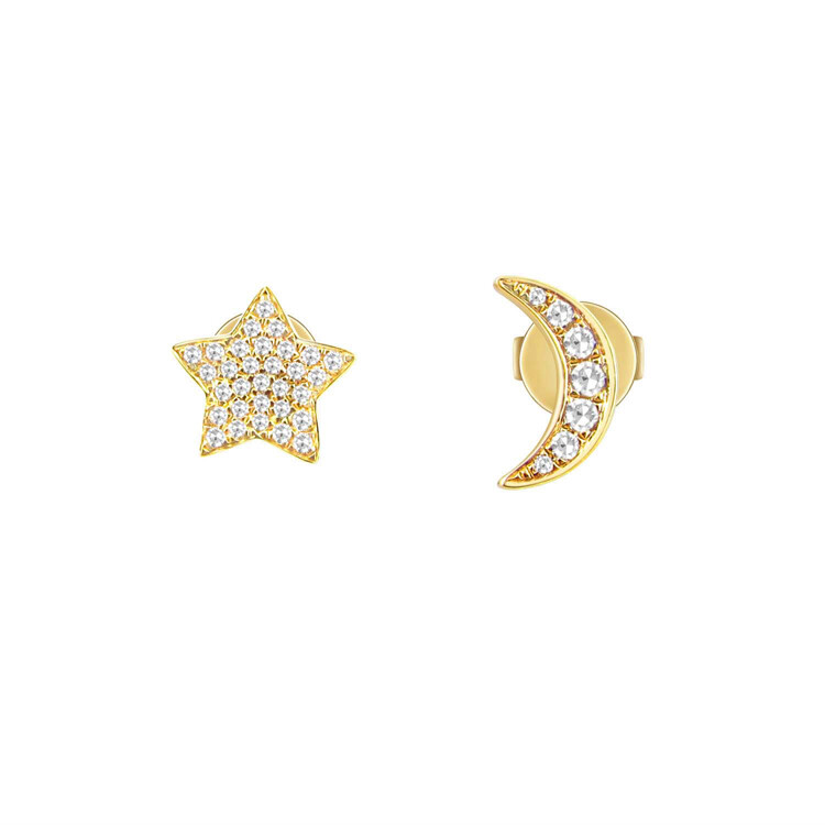 Asymmetrical Star & Moon Studs