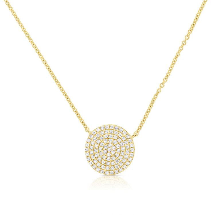 Small Pave Circle Pendant Necklace 16-18""