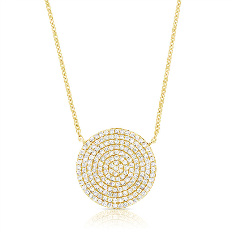 Large Pave Disk Pendant Necklace 16-18""