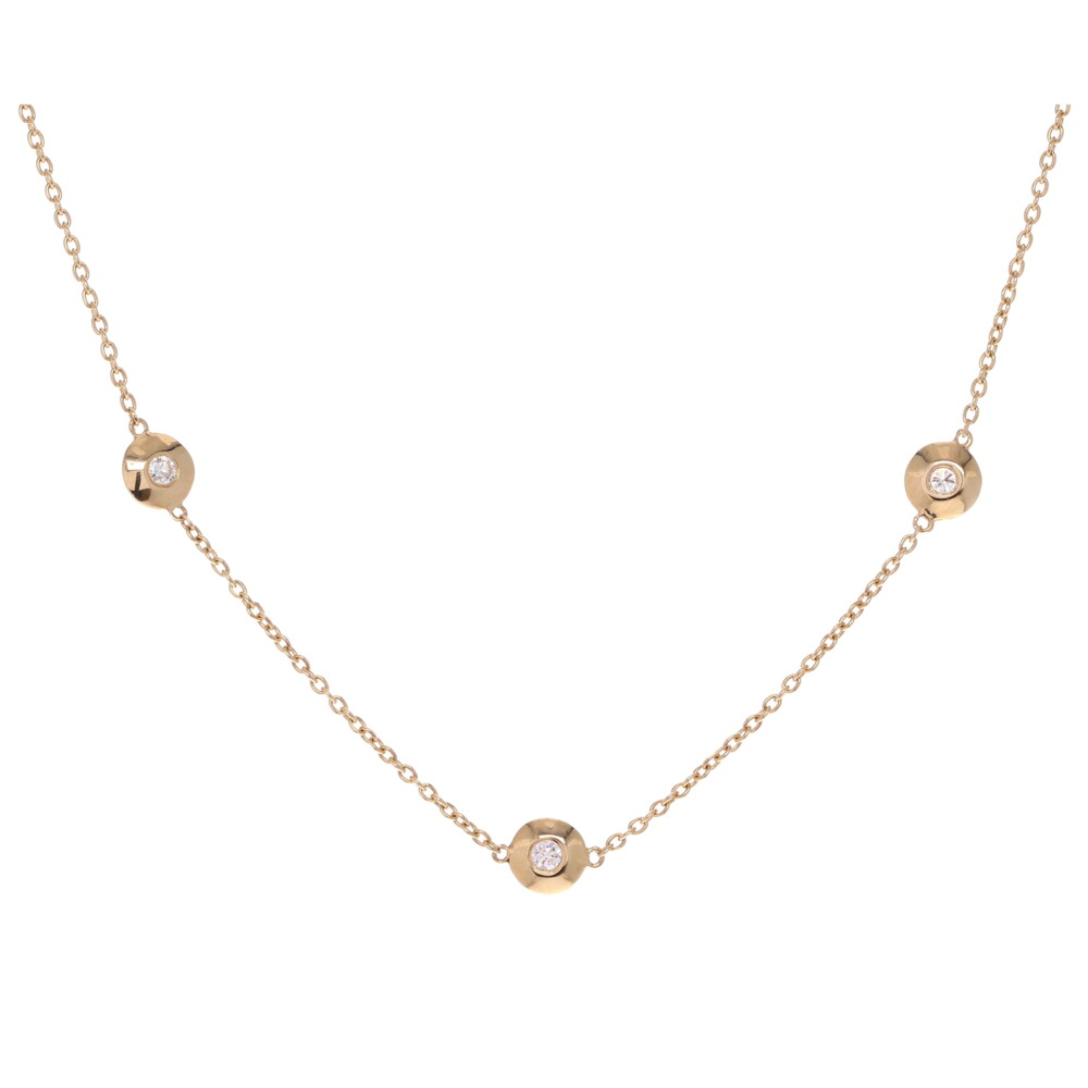 5 Station Bezel Set Diamond Layering Necklace