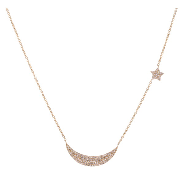 Closeup photo of Crescent Moon & Star Necklace