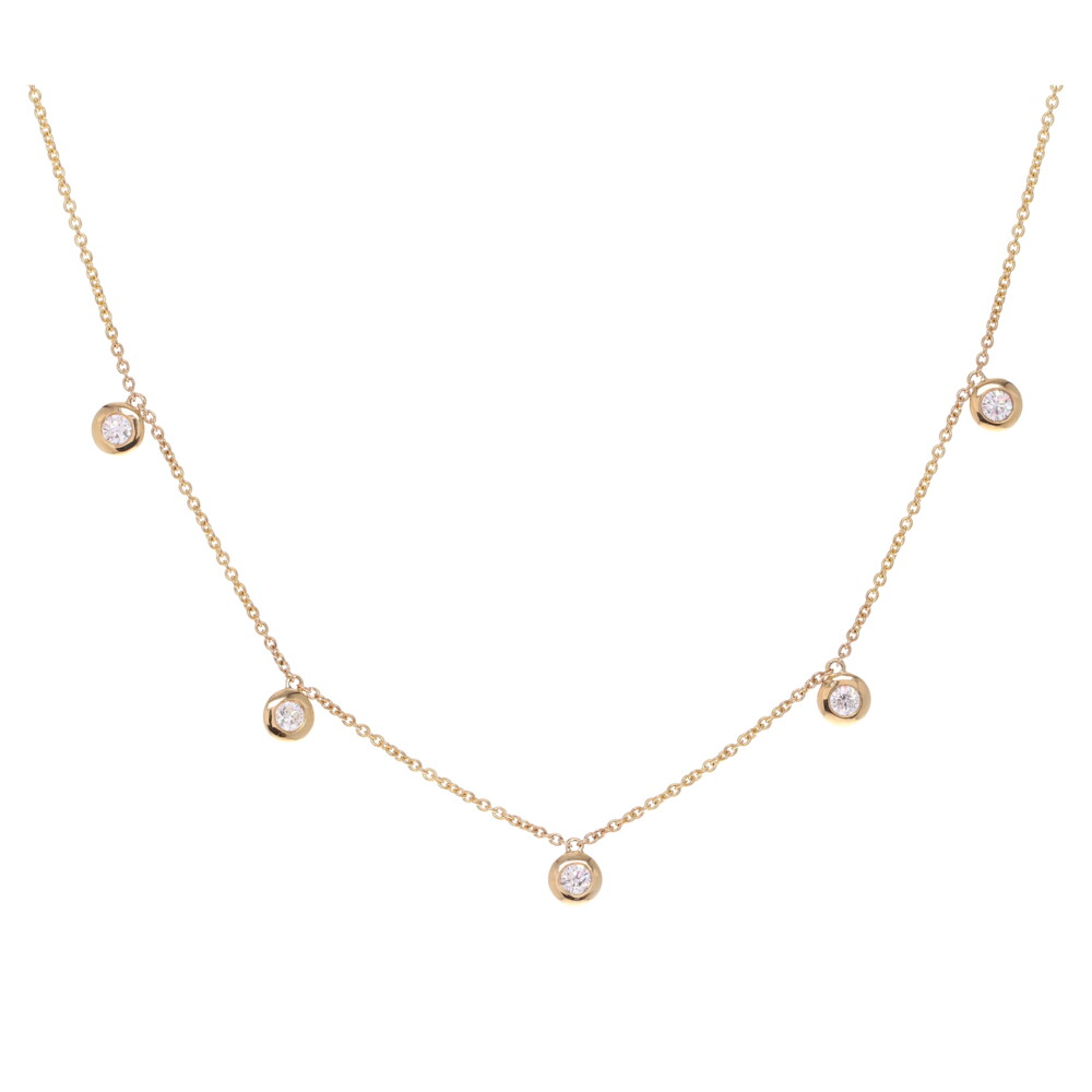 Bezel Set Diamond Dangle Layering Necklace