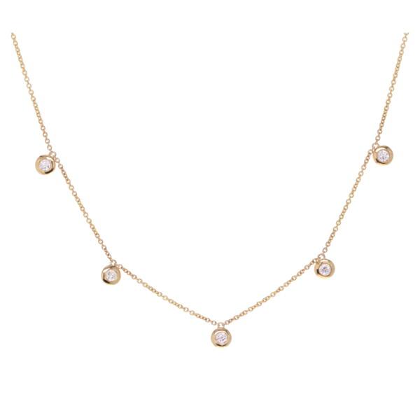 Closeup photo of Bezel Set Diamond Dangle Layering Necklace