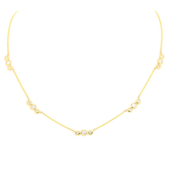Closeup photo of Triple Bezel Set Diamond Layering Necklace