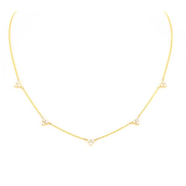 Closeup photo of Triple Triangle Diamond Layering Necklace