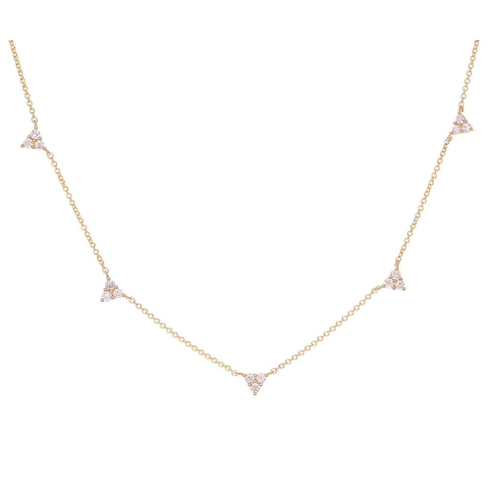 Triple Triangle Diamond Layering Necklace