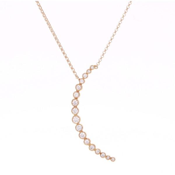 Closeup photo of Bezel Set Crescent Diamond Pendant Necklace