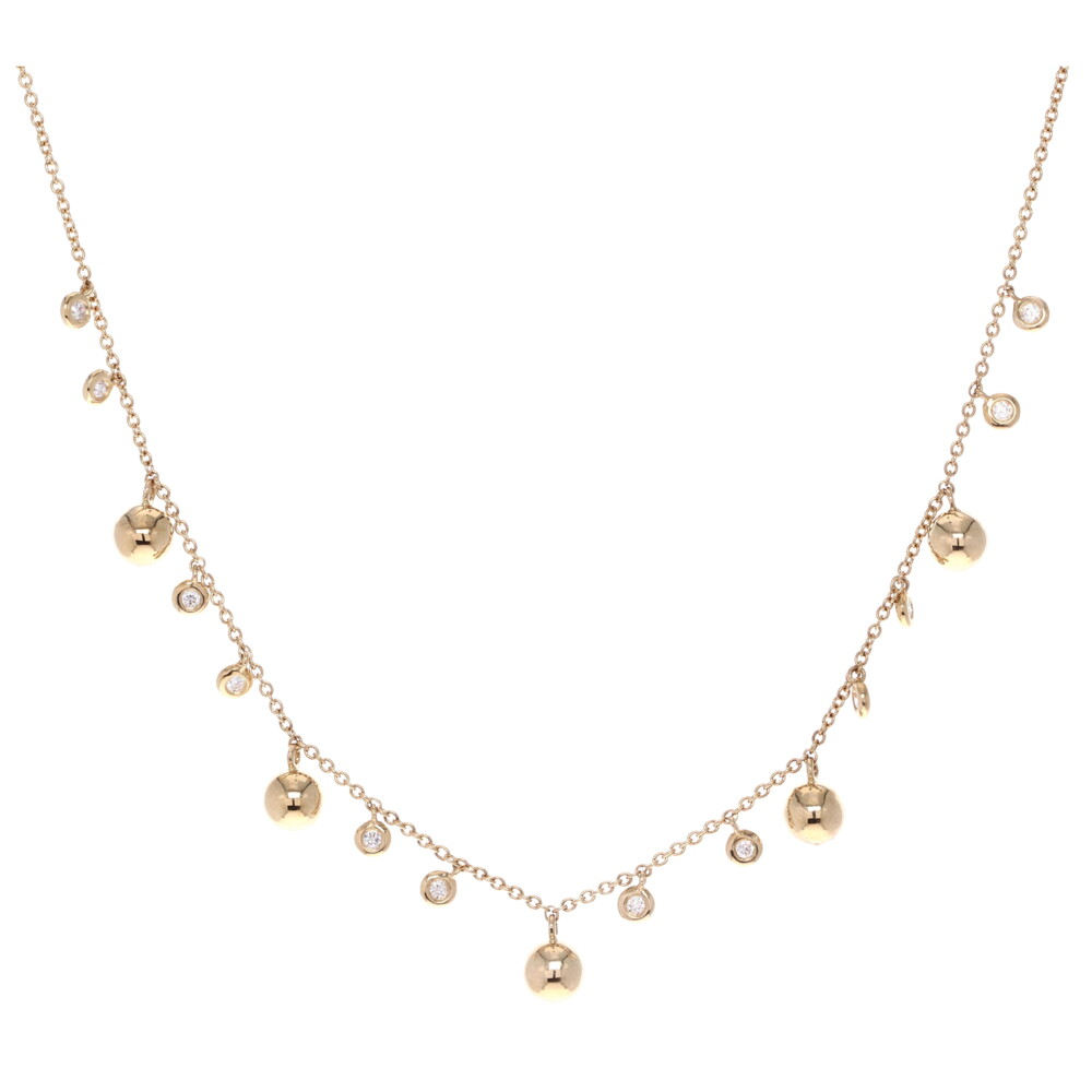 Gold Ball & Bezel Diamond Layering Necklace