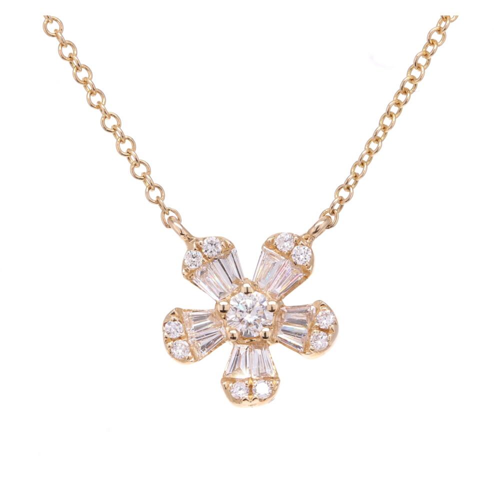 Baguette Flower Pendant Necklace