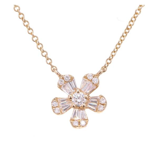 Closeup photo of Baguette Flower Pendant Necklace