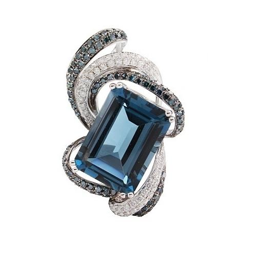 Closeup photo of London Blue Topaz Emerald Cut Pendant with Black & White Diamond Spray
