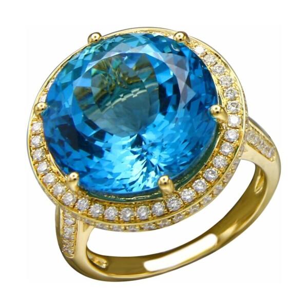 Closeup photo of Fancy Cut London Blue Topaz Ring with Diamond Halo
