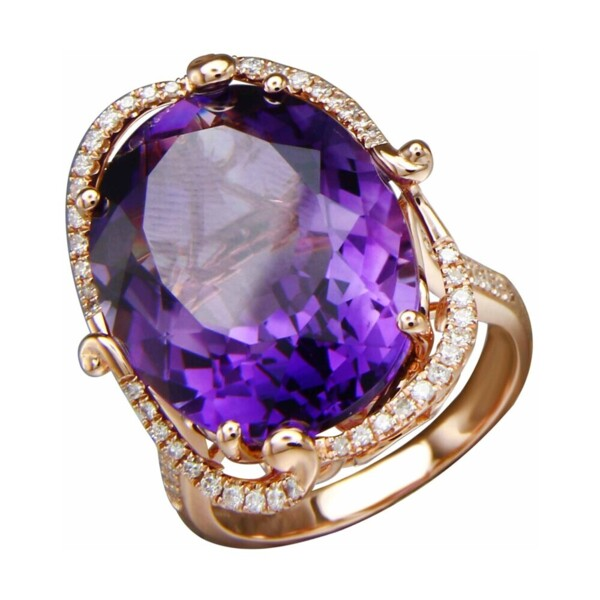Closeup photo of 18k RG Oval Amethyst Ring with Diamond Scoll Work