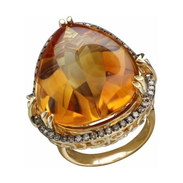 Closeup photo of 18k Large Citrine with Diamond Halo and Ruby Accents