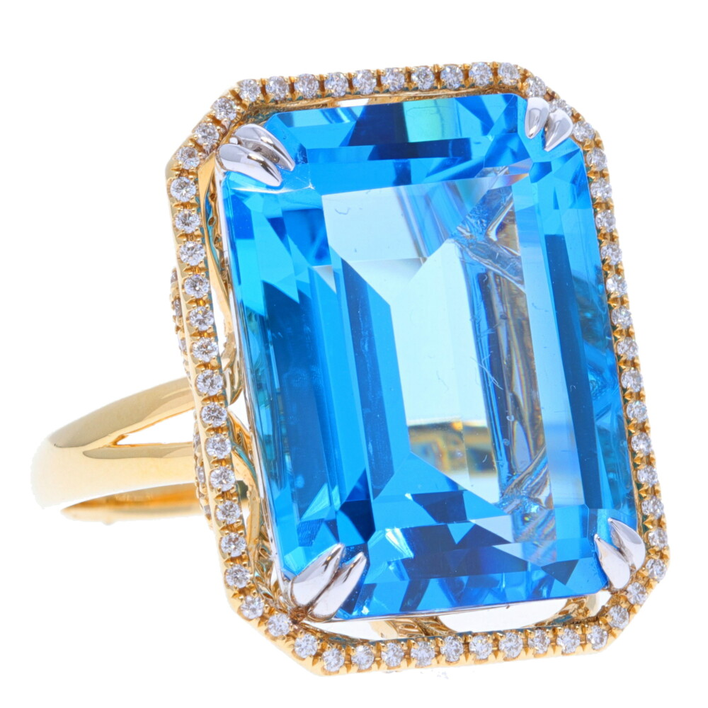 18k Emerald Cut Swiss Blue Topaz with Diamond Halo