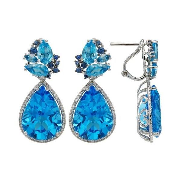 Closeup photo of 18k Swiss Blue Topaz and Sapphire Dangle Earrings