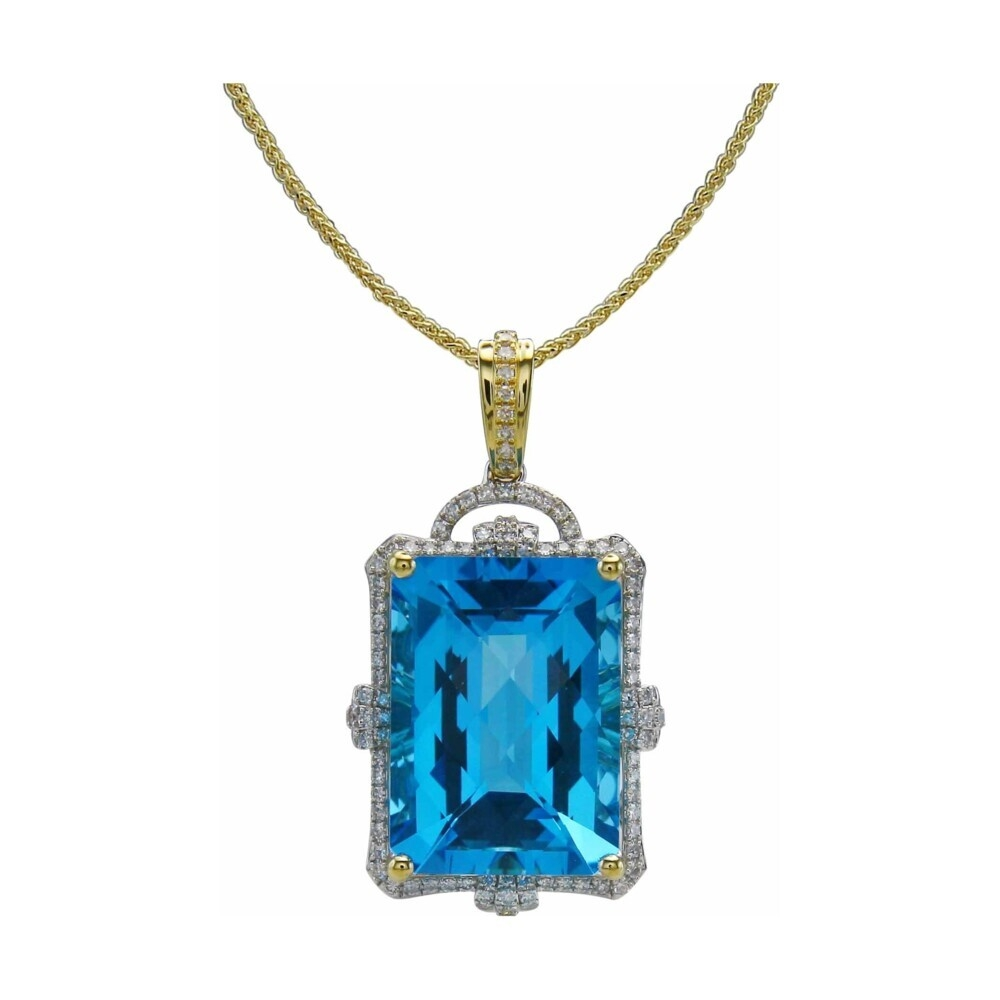 18k Emerald Cut Swiss Blue Topaz Pendant with Diamond Halo