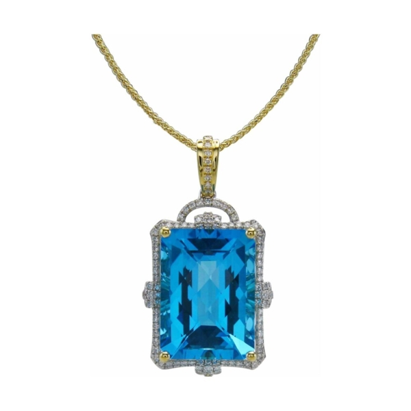 Closeup photo of 18k Emerald Cut Swiss Blue Topaz Pendant with Diamond Halo