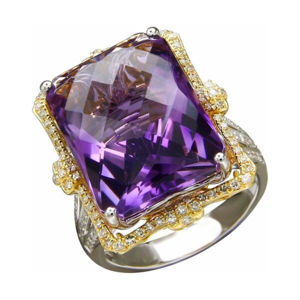 Closeup photo of 18k White and Yellow Gold Pillow Cut Amethyst with Ring Diamond Halo
